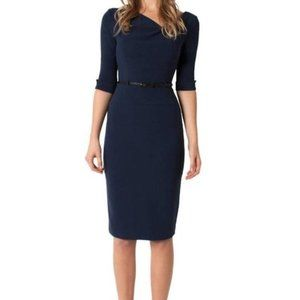Black Halo Jackie O 3/4  Sleeve Sheath Dress 0